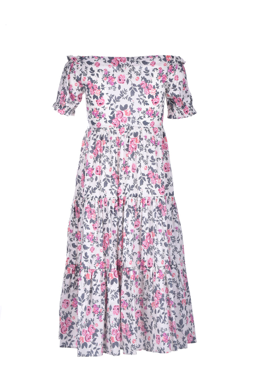 Off-the-shoulder dress with flounces and floral print SEMICOUTURE |  | Y1SR04FAN54