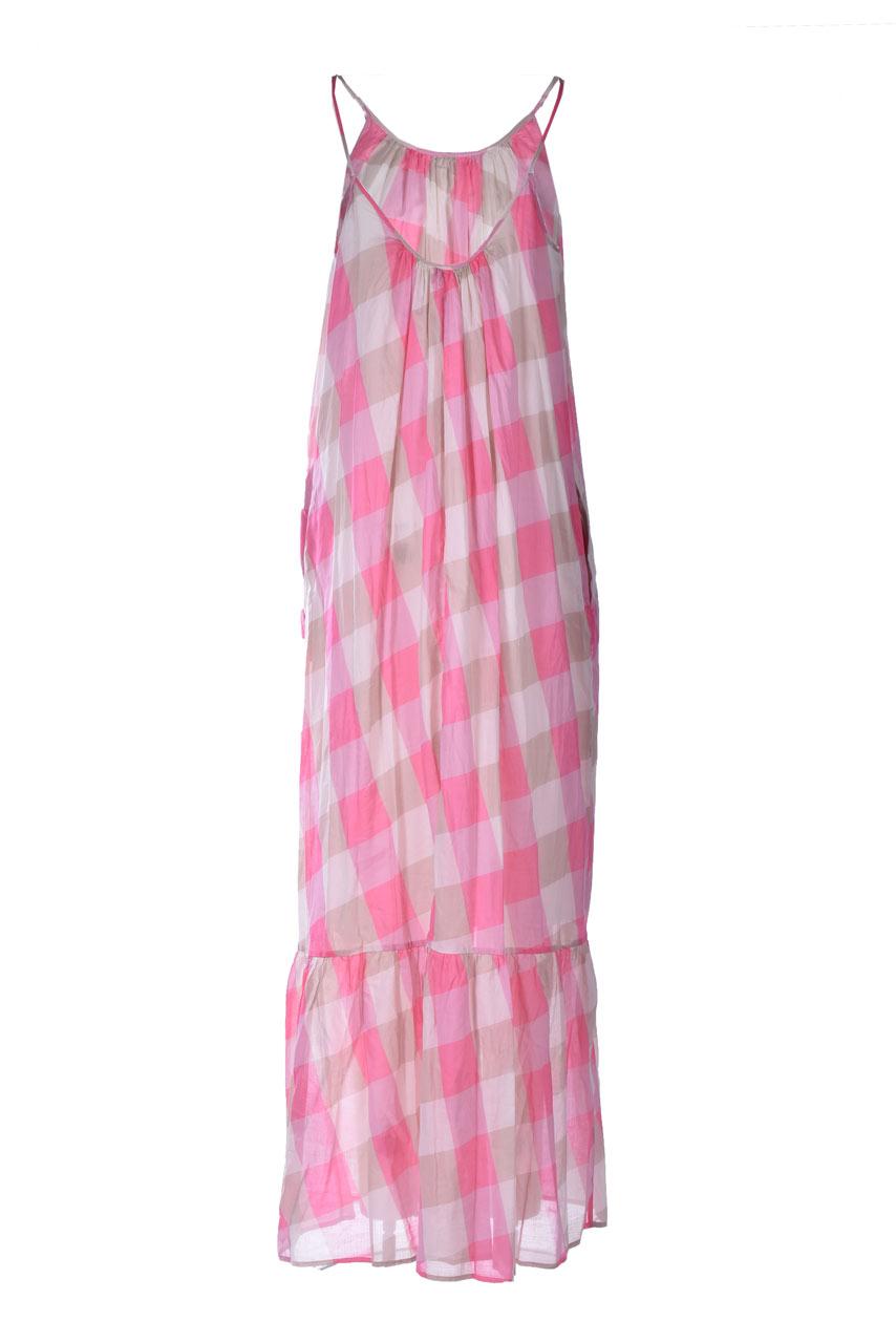 Maxi dress in macro vichy muslin SEMICOUTURE      Y1SS33FAN51