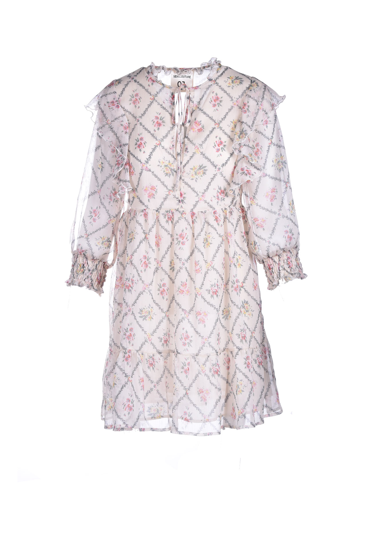 Voile crewneck dress with floral patterned rouches SEMICOUTURE | Dresses | Y1ST0325VAR