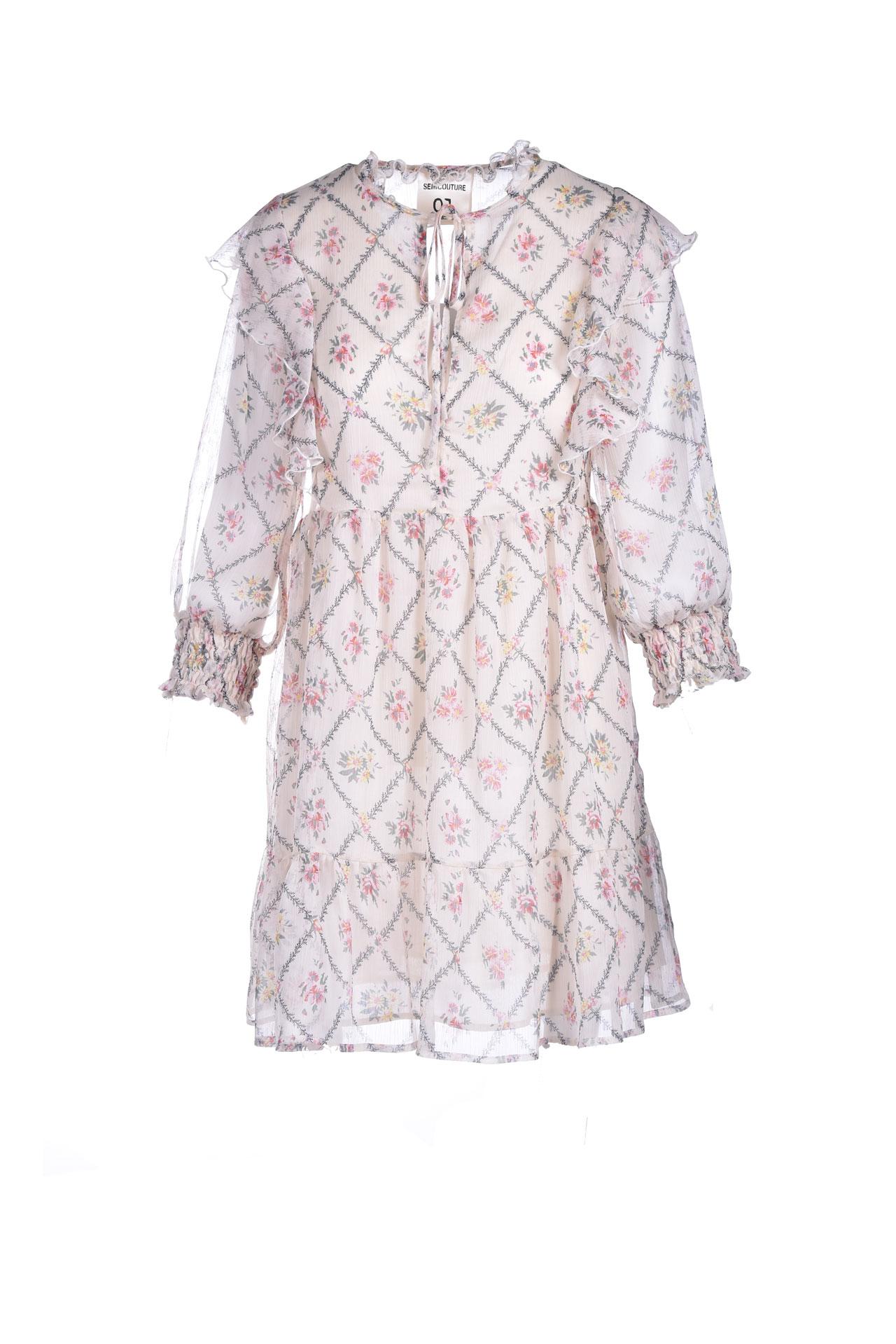 Abito girocollo in voile con rouches a trama floreale SEMICOUTURE | Vestiti | Y1ST0325VAR