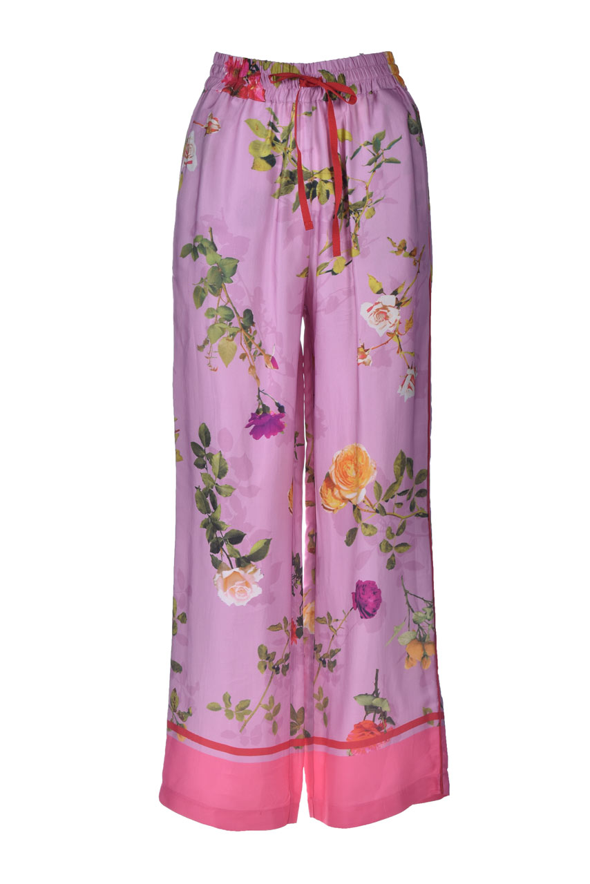 Palazzo trousers in satin with floral print SEMICOUTURE | Pants | Y1ST3022VAR