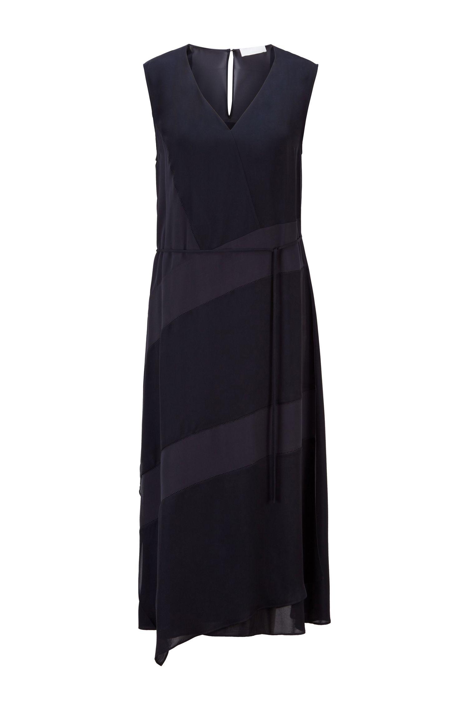 Sleeveless chiffon dress with silk trim and teardrop closure BOSS |  | 50447618466