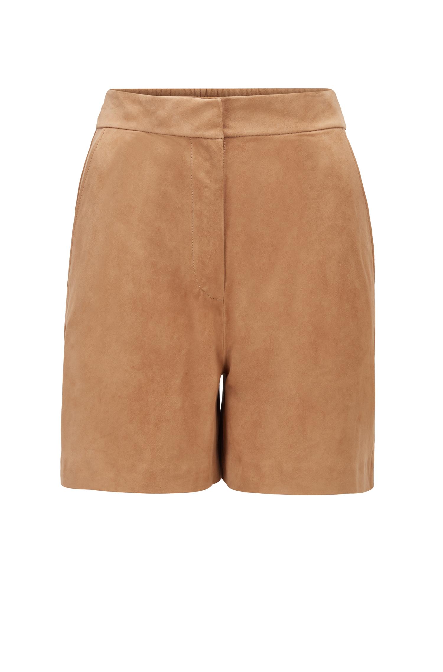 Shorts in pelle scamosciata con vita parzialmente elastica BOSS | Shorts | 50456339262