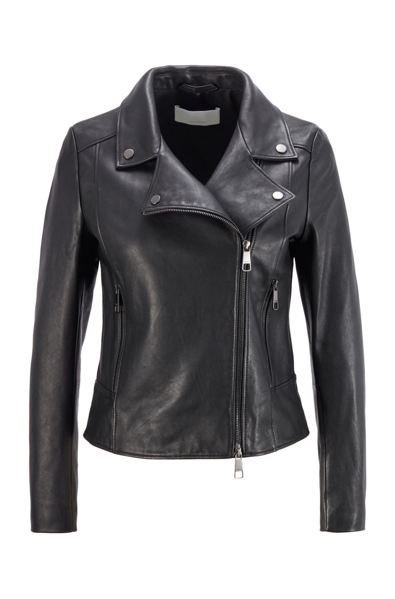 Giubbotto in pelle stile biker in Olivenleder® BOSS | Giubbini | 50442414001