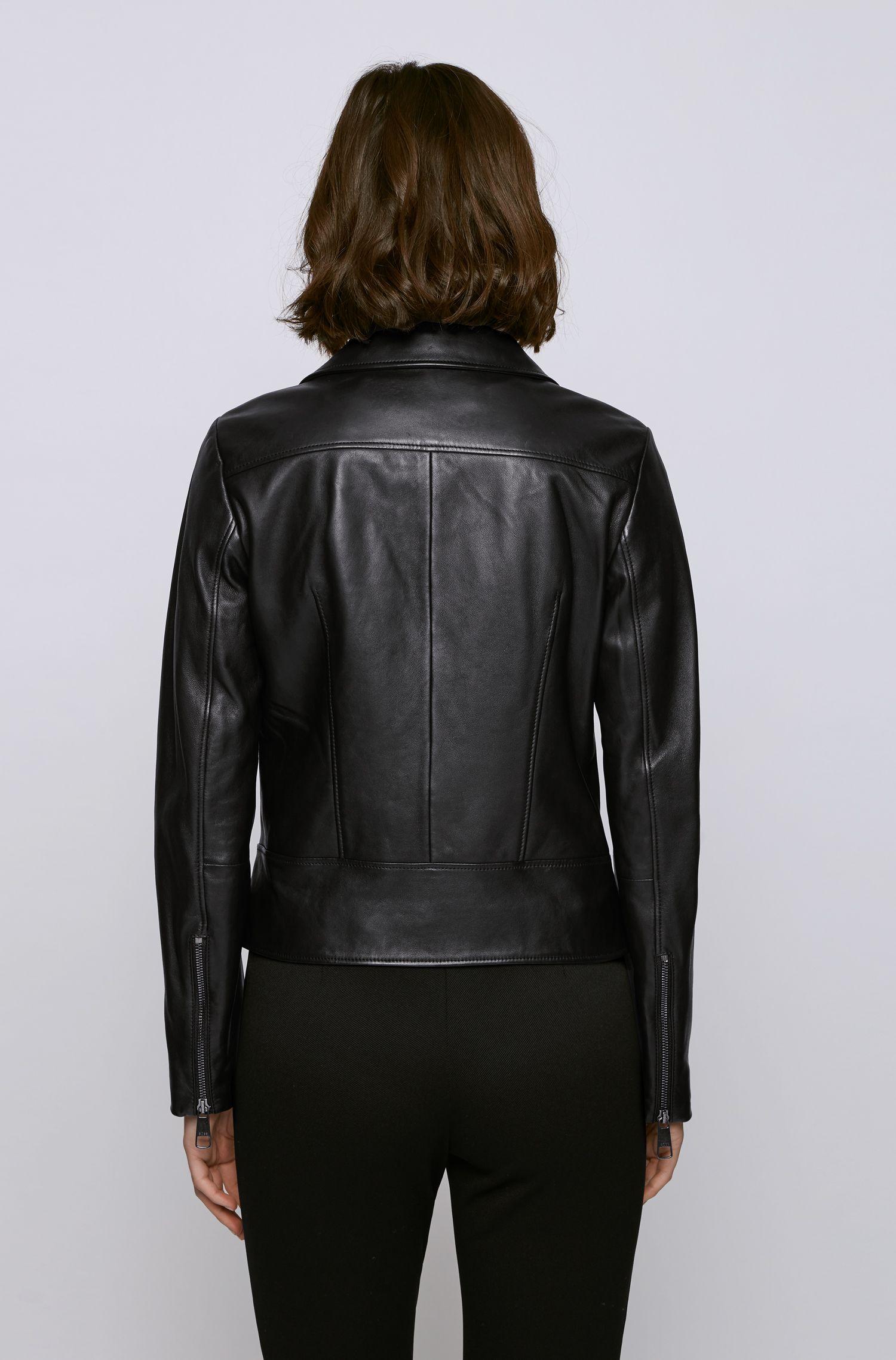 Biker-style leather jacket in Olivenleder® BOSS | Jackets | 50442414001