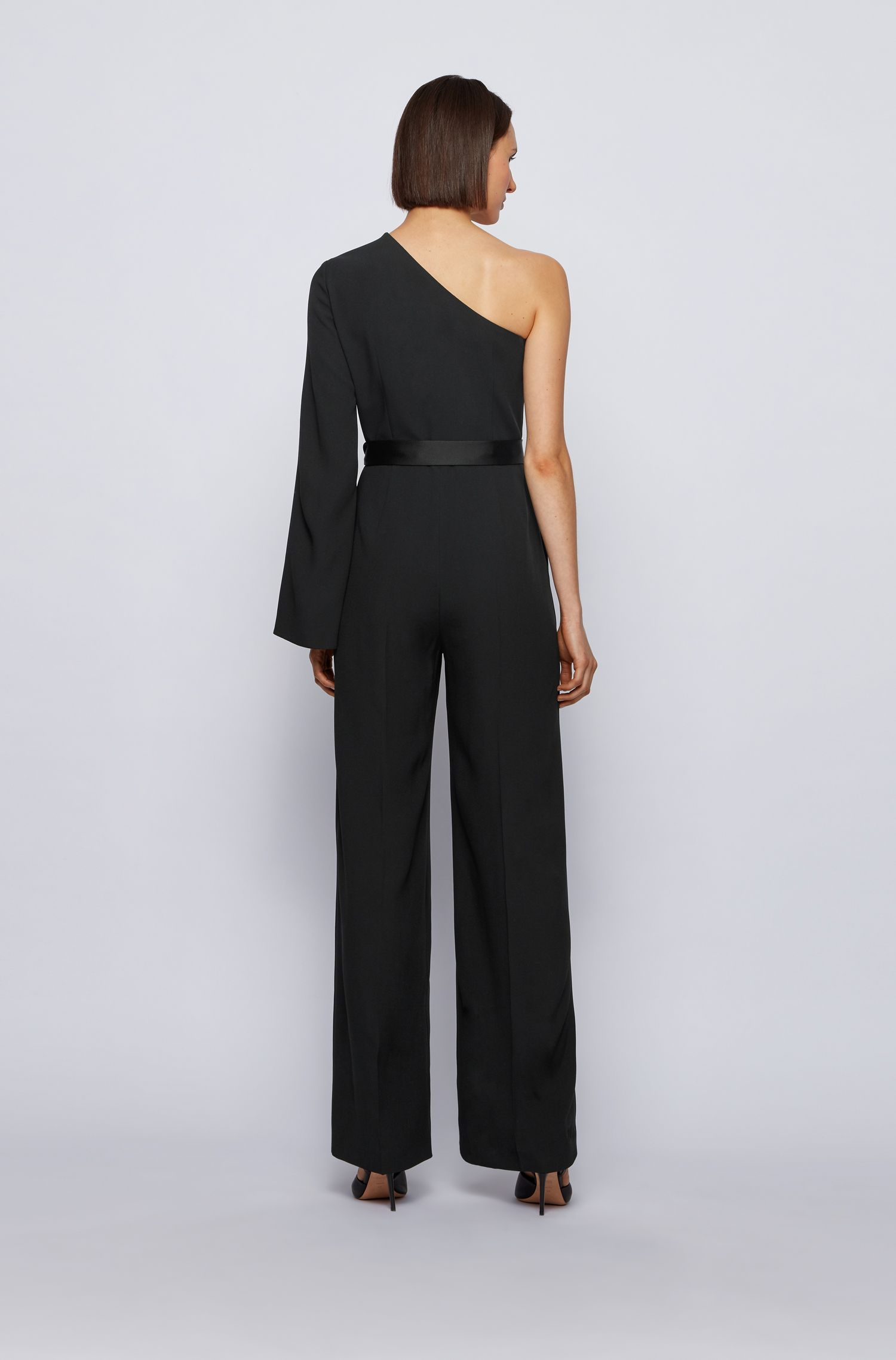 One-shoulder jumpsuit in crepe with satin back BOSS |  | 50442880001