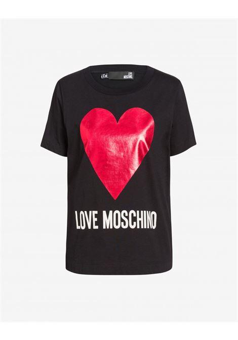 T-SHIRT IN COTONE CON STAMPA LOGO E CUORE. LOVE MOSCHINO LOVE MOSCHINO | T-shirt | W4G49 01 M3517C74