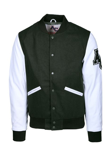 AVIATOR STYLE BOMBER JACKET AMERICAN COLLEGE | Jackets | REF008GREEN