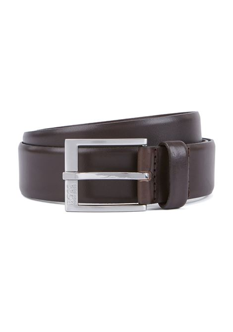 Smooth-leather belt with brushed-silver buckle BOSS | Belt | 50389781203