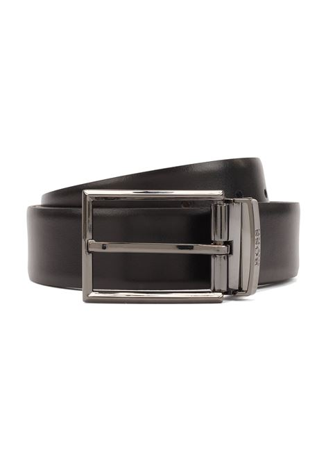 Gift-boxed reversible leather belt with pin and plaque buckles BOSS | Belt | 50408129002