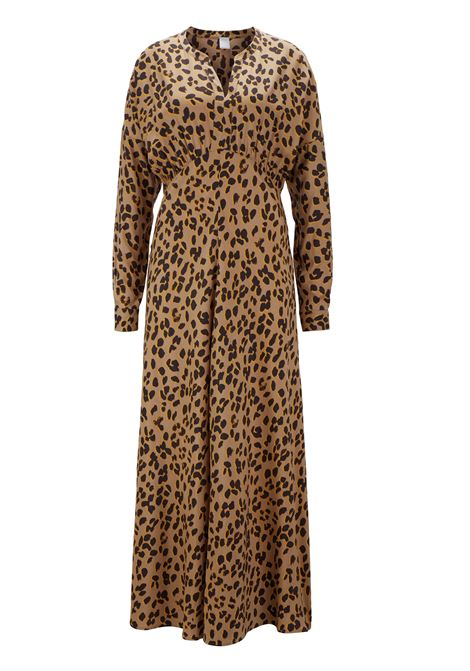 Leopard-print empire-waist maxi dress in twill with silk BOSS | Shirts | 50415120963