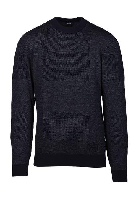 Maglia girocollo in lana con dettagli BOSS | Maglie | 50415793001