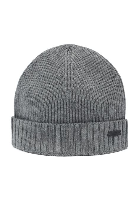 Ribbed beanie hat in wool with metal logo badge BOSS | Hats | 50416234030
