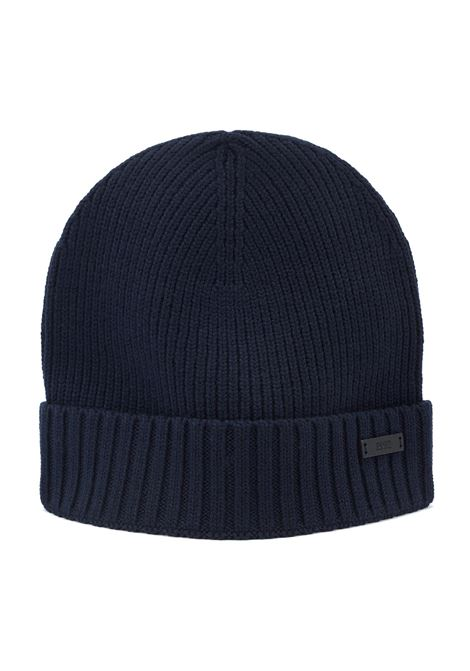 Ribbed beanie hat in wool with metal logo badge BOSS | Hats | 50416234402
