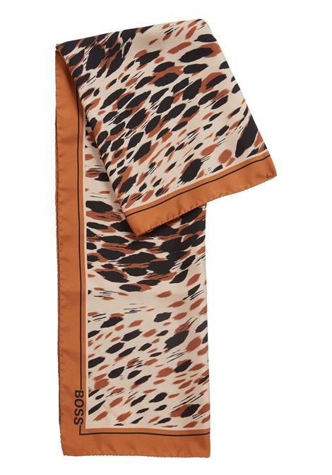 Animal-print scarf in silk BOSS | Scarves | 50416710980