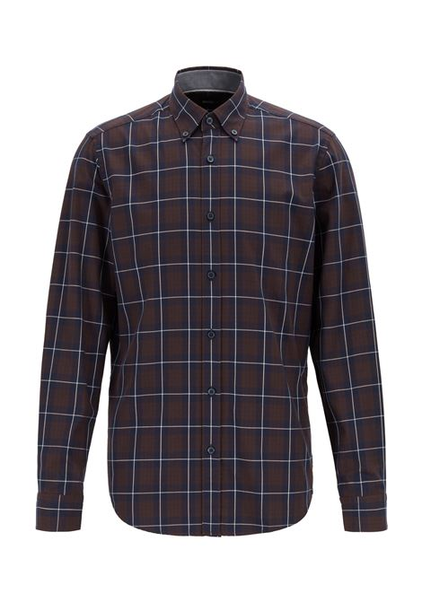 Button-down regular-fit shirt in checked cotton twill BOSS | Shirts | 50416713202