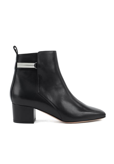 Heeled ankle boots in Italian leather with signature hardware BOSS | Shoes | 50419016001
