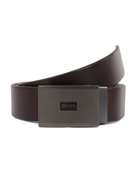 Leather belt with ridged plate buckle BOSS | Belt | 50419381001