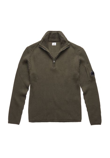 Merino Wool Funnel Zip Ribbed Lens Sweater C.P. COMPANY | Sweaters | 07CMKN155A005292A670