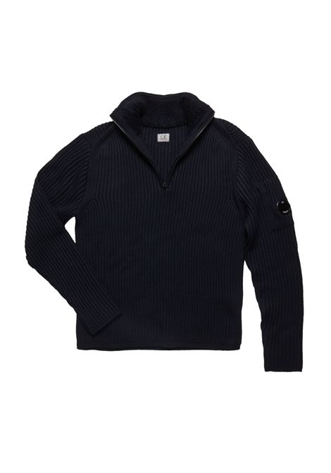 Merino Wool Funnel Zip Ribbed Lens Sweater C.P. COMPANY | Sweaters | 07CMKN155A005292A999