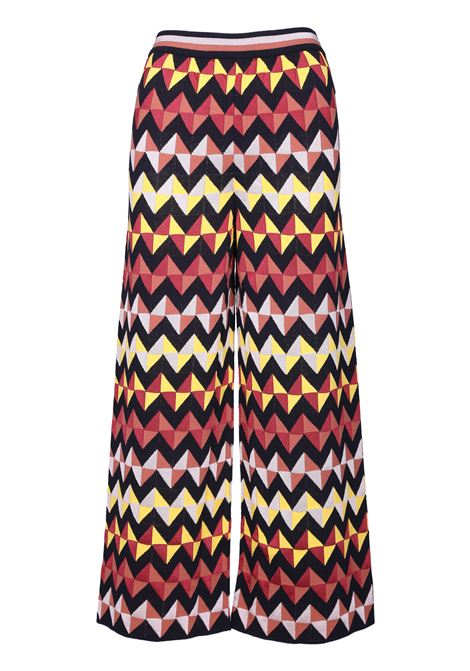ZIGZAG AND TRIANGLES TEXTURED PALACE PANTS M MISSONI | Trousers | 2DI000702K001KS101Y