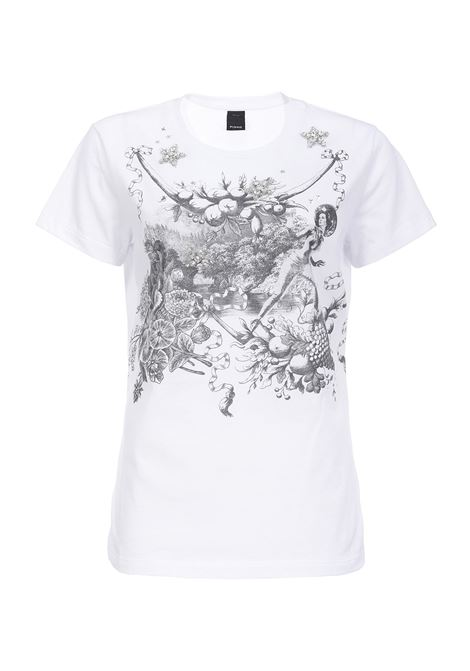 T-SHIRT WITH TOILE DE JOUY SPACE PRINT PINKO | T-shirts | 1B1480Y5BDZ04