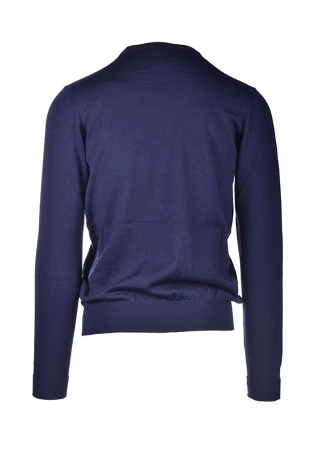 Blue extrafine merino wool crewneck sweater ALPHA STUDIO | Knitwear | AU 3000/C9017