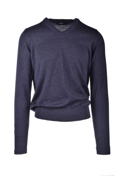 V-neck sweater in brown extra-fine merino wool ALPHA STUDIO | Knitwear | AU 3001/A9005