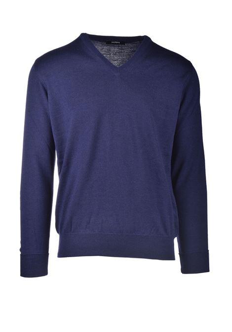 Blue extrafine merino wool V-neck sweater ALPHA STUDIO | Knitwear | AU 3001/A9017