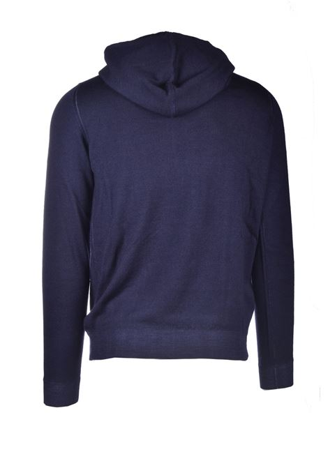 Blue extrafine merino wool hoodie ALPHA STUDIO | Knitwear | AU 3019/CS9027