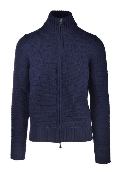 Cardigan in lana merino con zip blu notte ALPHA STUDIO   Maglieria   AU 3041/N9052