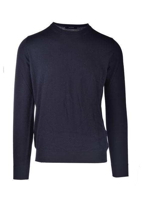Black merino wool crewneck ALPHA STUDIO | Knitwear | AU 3080/C9064