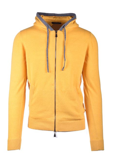 Hooded cardigan in amber cachmere blend ALPHA STUDIO | Knitwear | AU 3222/E9101
