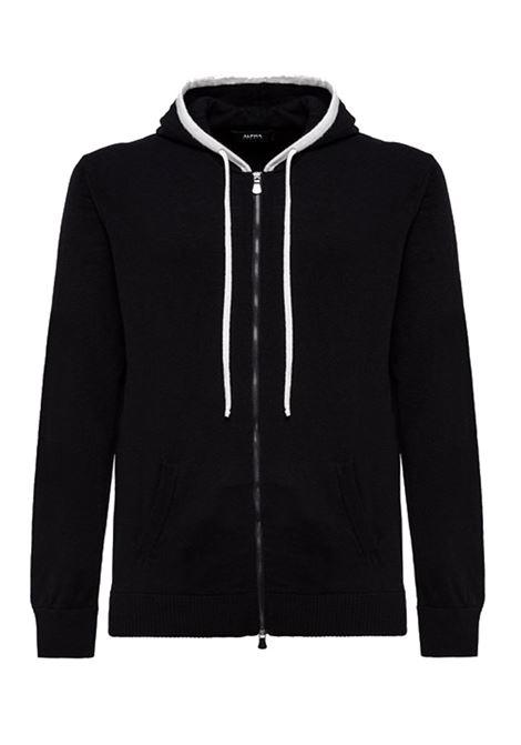 Hooded cardigan in black cachmere blend ALPHA STUDIO | Knitwear | AU 3222/E9105