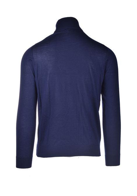 Turtleneck in pure blue worsted cashmere ALPHA STUDIO | Knitwear | AU 3301/G9256