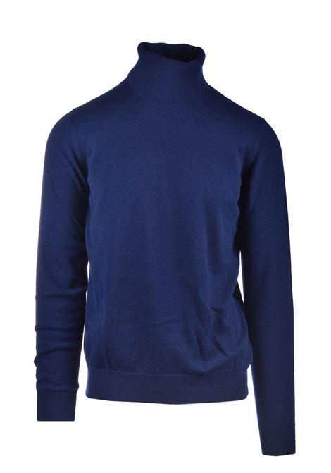 Turtleneck in pure dark blue worsted cashmere ALPHA STUDIO | Knitwear | AU 3312/G9236