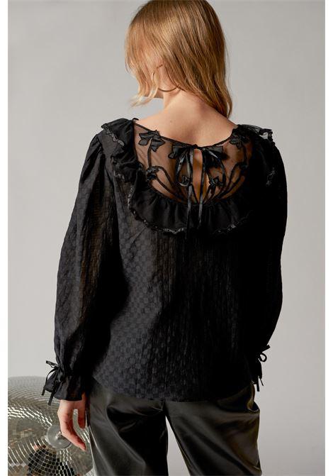 Black blouse with lace neckline ANTIK BATIK | Blouse | CELINE1BLOBLACK