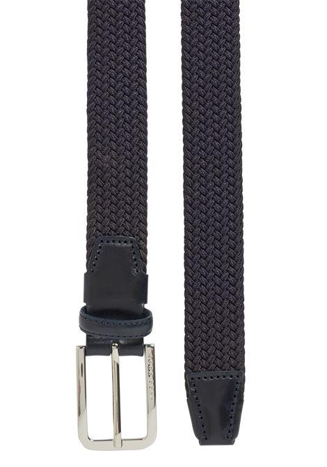Braided belt with shiny metal details navy BOSS | Belt | 50386525410