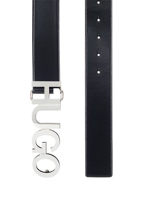 Italian leather belt with silver logo BOSS | Belt | 50391327001
