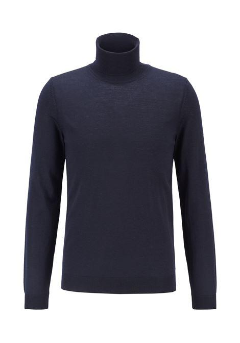 Maglione dolcevita con colletto a tartaruga blu scuro BOSS | Maglieria | 50392083402