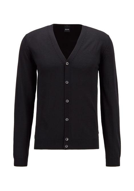 Cardigan con scollo V in lana merino nero BOSS | Maglieria | 50392802001