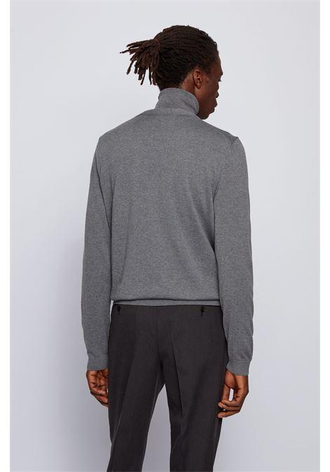Cardigan con scollo V in lana merino grigio BOSS | Maglieria | 50392802030