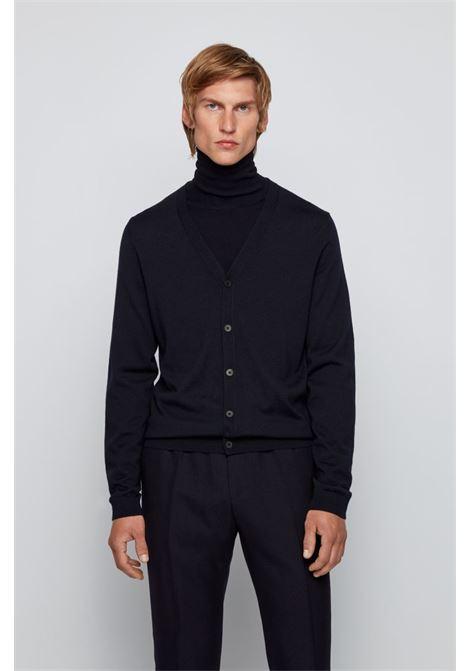 mardon Cardigan con scollo a V in pregiata lana merino - blu scuro BOSS | Maglieria | 50392802402