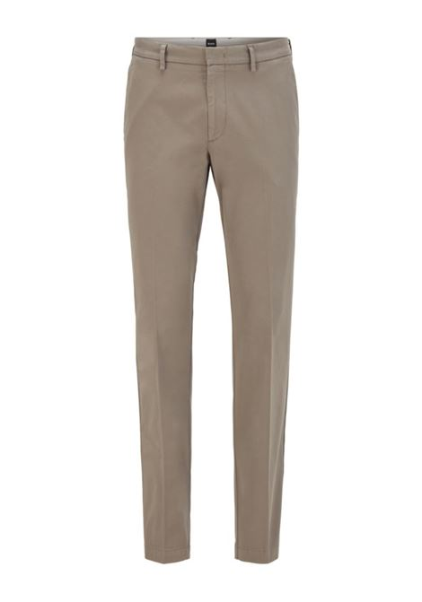 Slim-fit chinos in stretch-cotton gabardine - dark beige BOSS | Trousers | 50410310257