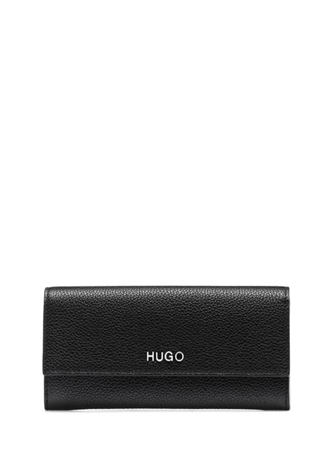 Continental wallet in textured leather with logo BOSS | Wallets | 50428560001