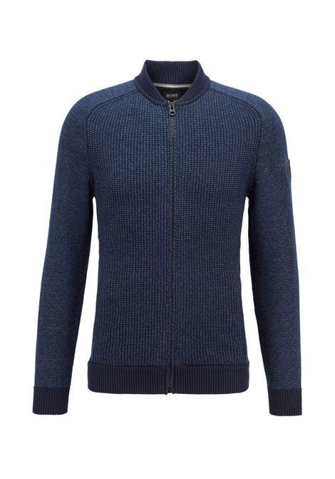 Giubbotto in maglia stile blouson in misto cotone BOSS | Maglieria | 50428873404
