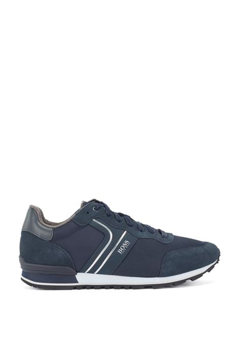 Sneakers stile runner in pelle scamosciata e rete blu scuro BOSS | Sneakers | 50433661402