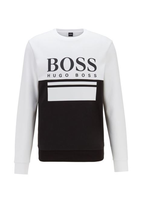 salbo Slim fit sweater with printed logo - black anhe white BOSS | Sweatshirt | 50434921001