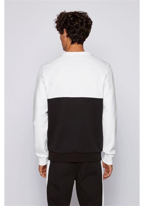 salbo Maglione slim fit con logo stampato - bianco e nero BOSS | Felpe | 50434921001