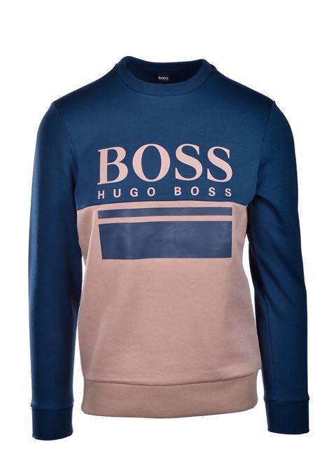 salbo Maglione slim fit con logo stampato - blu e beige BOSS | Maglie | 50434921960